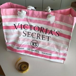 Victoria's Secret Pink & White Striped Tote Bag St. Barts Hawaii Miami • Free Shipping