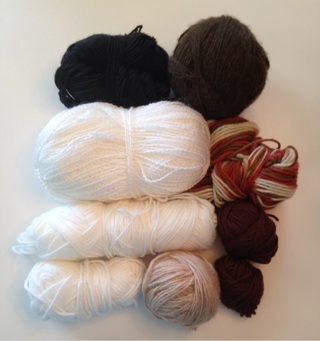 Knit and Crochet Yarn- Black White Brown