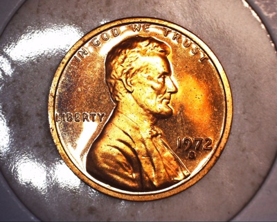 1972 s slight tone proof lincoln penny