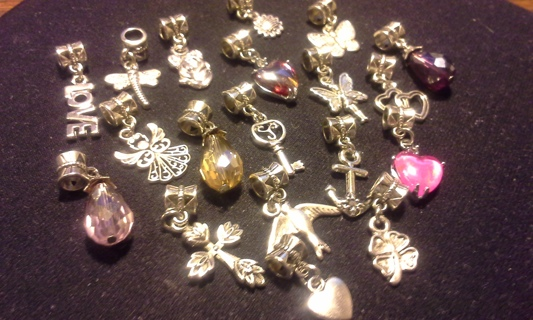15pc assorted Euro style charms & dangle beads