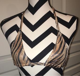 New Micro Tiger Stripe Exotic Triangle Bikini Top