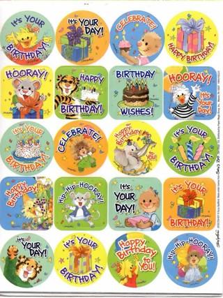 Eureka Suzy's Zoo Birthday Die Cut Stickers