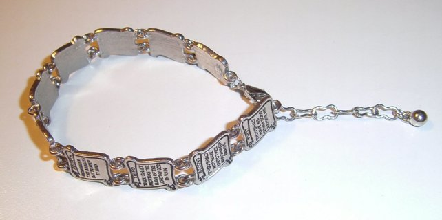 Free Silvertone Avon Ten Commandments Scroll Charms Bracelet With Extender Chain See Pics