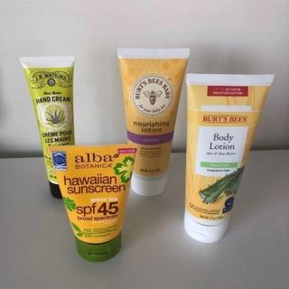 4 New Lotions : Burt's Bees Aloe • Alba  Green Tea Sunscreen • Hand & Body Shea • Free Shipping