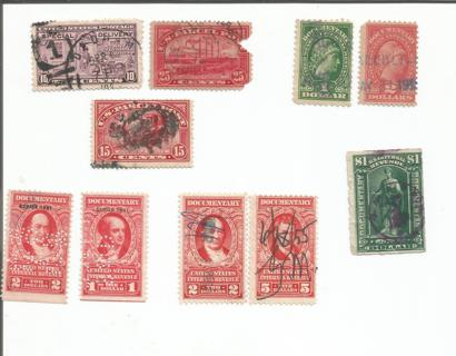 Lot of 10 B.O.B. US postage stamps used