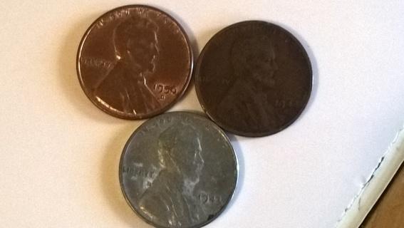 Weat Penny lot, 43-P, 44-S, 56-D