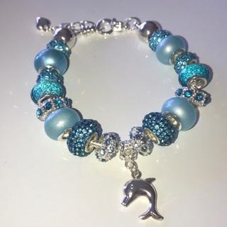 Beautiful Aqua Ocean Blue Dolphin & Pink Princess Euro Pandora style Bracelets
