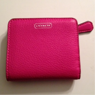 New Coach Hot Pink Leather Wallet Gin For V Day