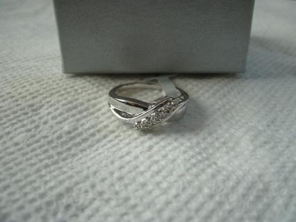 Sterling Silver Diamond Ring Size 7 NIB
