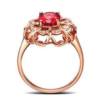 Designer Golden Fashion Gift Mother Good Size 7 Ring Jewelry Women Red Zircon