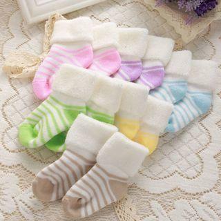 Infant Babys Kids Warm Cotton Anti-silp Thicken Soft Cozy Terry Floor Socks 0-3Y