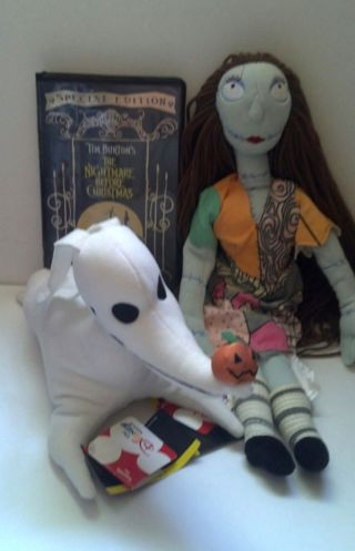 free nightmare before christmas 17 sally 12 zero plush dolls bonus special edition vhs