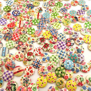 [GIN FOR FREE SHIPPING] 50PCs Mixed Color 2 Holes Round Wood Buttons DIY Sewing