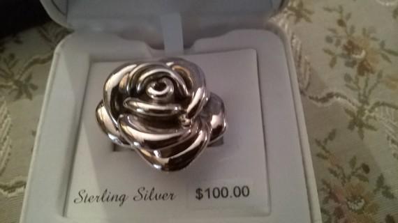 Huge Sterling Rose Ring size 8 retails $100
