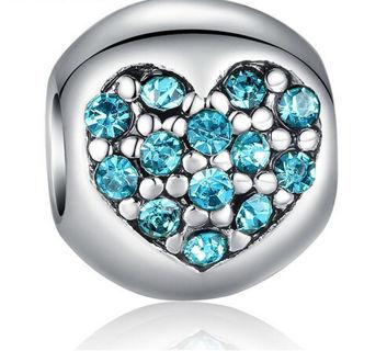 European Silver CZ Charm Beads Fit sterling 925 Necklace Bracelet