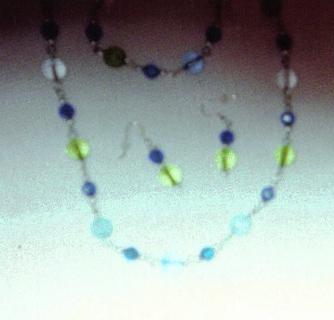 Blue & green necklace, Bracelet & earring set