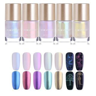 NICOLE DIARY Mermaid Series Nail Stamping Polish 9ml Shell Shimmer Lacquer Shiny Glitter Manicure