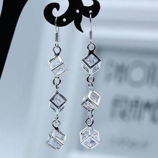 [GIN FOR FREE SHIPPING] 925 Silver CZ Long Cube Rhinestone Dangle Drop Hook Earrings