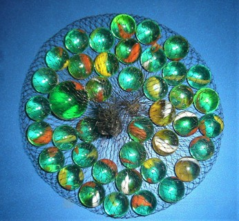 Bag of 42 Glass Marbles Green with Outer colors