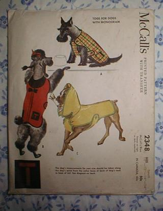 Free: 1959~VINTAGE McCALL\'S DOG COAT SEWING PATTERN~TOGS FOR DOGS ...