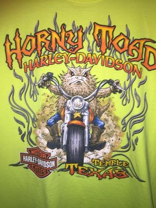 Harley Davidson ***** TOAD TEMPLE TEXAS, Medium T shirt lime green
