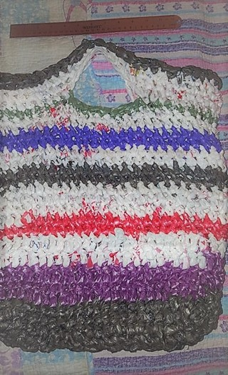 Recycled Plastic (Plarn) Grocery Beach Tote Crocheted