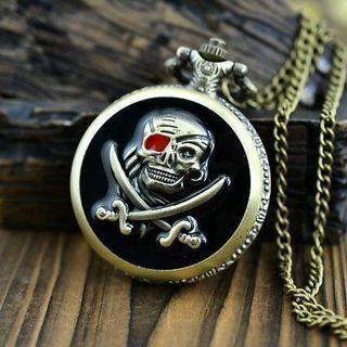 Vintage Bronze Pirate Skull Quartz Pocket Watch Pendant + Necklace Chain 8