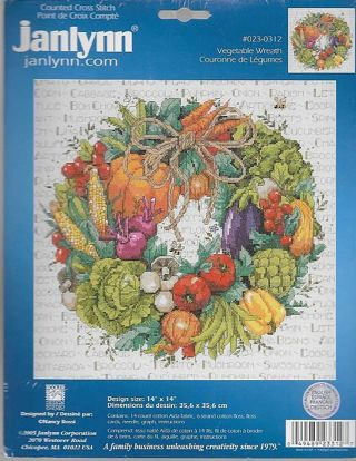 SEALED Counted CROSS STITCH KIT Janlynn VEGETABLE WREATH #023-0312