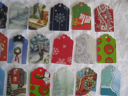 Christmas gift tags, a selection of different tags w/holiday theme, 14 tags