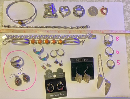 pre owned Large Lot Of Sterling Silver Jewelry