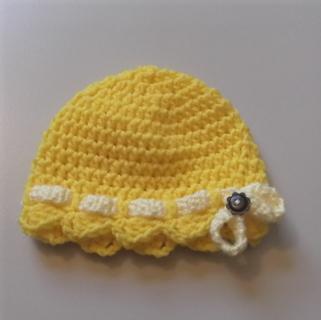 Crochet Spring Baby Girl Hat - yellow - size newborn