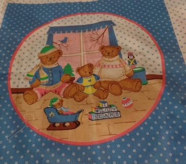"""Super Cute Bear Pillow Block to Quilt and Make Into a Cute Pillow, 18"""" Square, 100% Cotton - APA-106"""