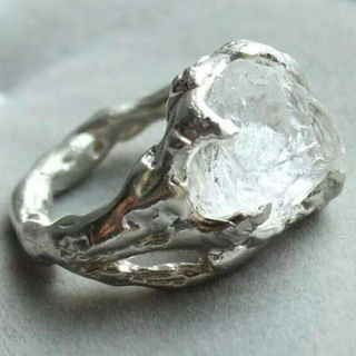 [GIN FOR FREE SHIPPING] 925 Silver Ring Creative Iceberg Irregular White Crystal
