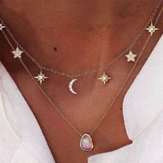 Exquisite Water Drop Star Moon Gem Crystal Women Pendant Necklace Set Charm Shiny Wedding Party