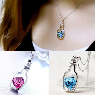 [Jewelry] Woman Floating Drift Bottle Blue/Rose Pink Heart Crystal Love Necklace