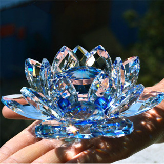 80mm Quartz Crystal Lotus Flower Crafts Glass Paperweight Fengshui Ornaments Figurines