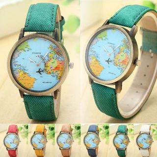 Unisex Watch Denim Leather World Map Dial Analog Quartz Wristwatch Casual Watch
