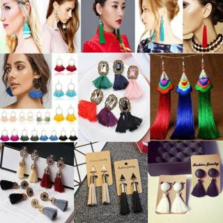 Women Fashion Bohemian Earrings Vintage Boho Long Tassel Fringe  Dangle Earrings