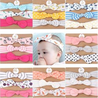 3Pcs/Lot Baby girl headband Cotton Rabbit Ear baby Headwear Turban Dot Bowknot Elastic Hairband Co