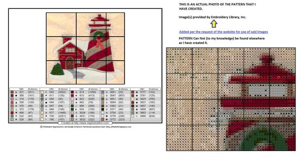 Christmas Lighthouse Cross Stitch Pattern
