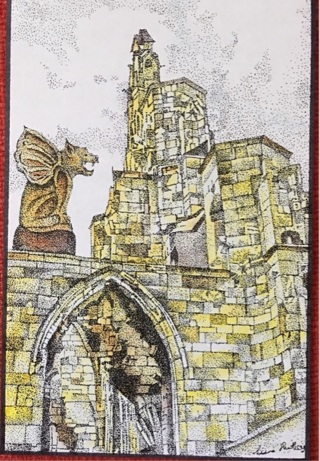 """GARGOYLE AND RUINS - 5 x 7"""" art card by artist Nina Struthers - GIN ONLY"""