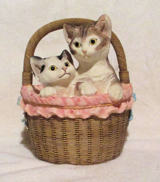 Vintage  Large Cats ~Kittens In a Basket