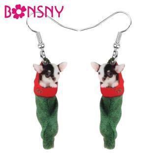 Bonsny Acrylic Christmas Anime Chihuahua Dog Gift Bag Earrings Drop Dangle Animal Pets Jewelry For
