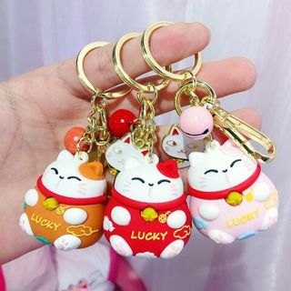 [GIN FOR FREE SHIPPING] Maneki Neko Fortune Lucky Beckoning Cat Bell Keyring Keychain