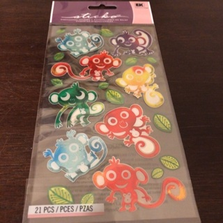 Sticko dimensional monkey stickers