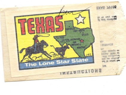 Vintage 1950's Impko Sticker/Decal: Texas The Lone Star State