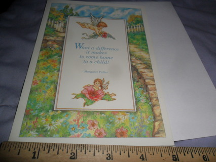 """""""New Arrival"""" Card & Envelope with cupid & garden design"""