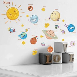 Bedroom Decor Mural Outer Space Planets Solar System Wall Stickers Decals