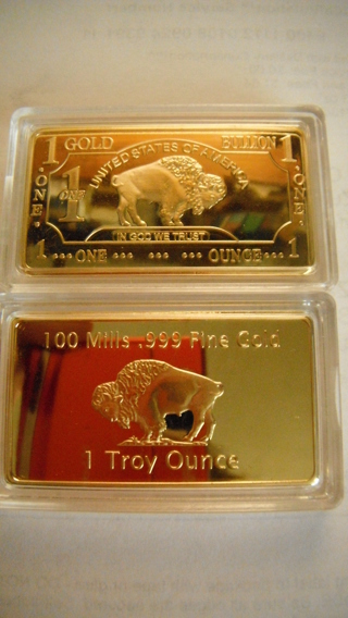 1 Troy Ounce 100 Mills 999 Fine Gold Buffalo Art Bar