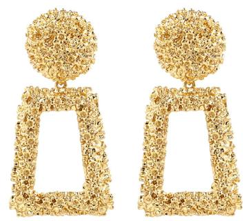 Gold Rectangle Geometric Dangle Earrings, Fashion Statement Drop Earrings